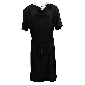 بروك شيلدز الخالدة قصيرة الأكمام متماسكة اللباس مع التعادل الأسود A306641