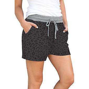 Grau Leopard Print Drawstring Taille Frauen Casual Shorts