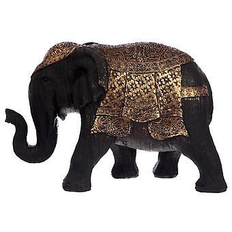 Decoratieve Thaise geborstelde zwarte en gouden middelgrote olifant