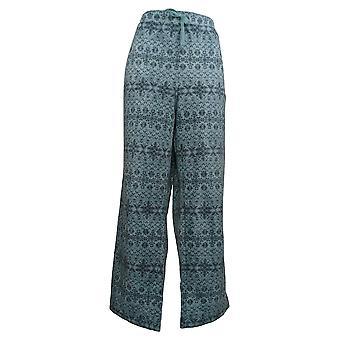 Denim & Co. Women's Printed Fleece Drawstring Lounge Pants Blue A389078