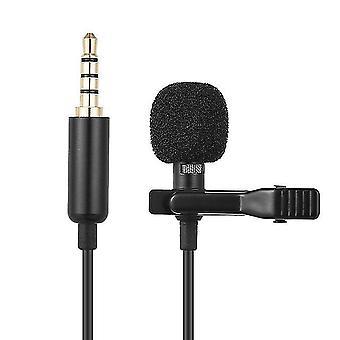 Microphone condensateur portable clip-on lavalier micro, 1,45 m, microphone filaire, pour téléphone et ordinateur portable