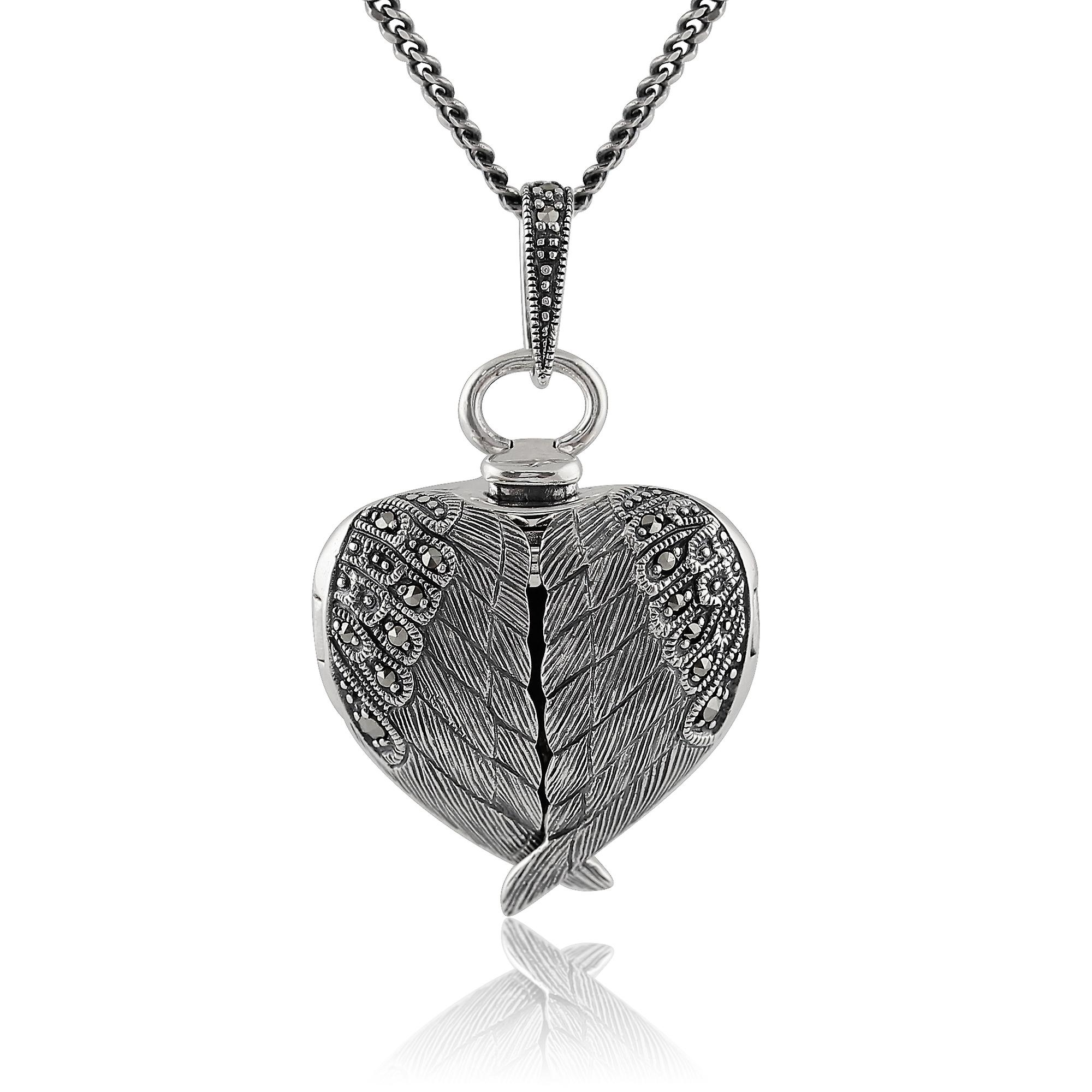 Gemondo Sterling Silver 0.14ct Marcasite Angel Wing Heart Locket 45cm Necklace