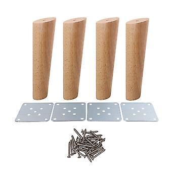 4pcs 20cm Height Wood Oblique Tapered Furniture Feet Tea Table Legs