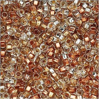 חרוזי זרעי זכוכית צ'כיים, סיבוב 8/0, 1 אונקיה, תערובת מצופה קריסטל מתכתי