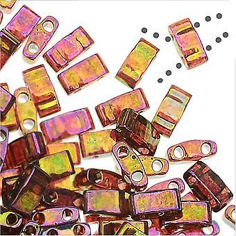 Miyuki Half Tila 2 отверстия прямоугольные бусины 5x2,3 мм - блеск розового золота 7,8 грамма