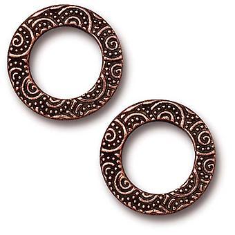 TierraCast Antieke Koper vergulde 16mm spiraalvormige ring connector link (2)