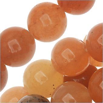 Perline di pietra preziosa, aventurina, rotondo 8mm, filo da 15 pollici, arancione rosso