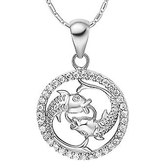 Autiga&reg, Women's Necklace, with zodiac sign pendant of the&rsquo,Aquarium and zircons, gold plated, metal base, color: Ref. 4058433099531