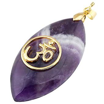 KYEYGWO - Necklace with polished natural stone pendant, for women and League, color: amethyst (oval chakra pendant)., cod. Ref. 0715444084850