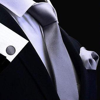Silver grey tie cuff link & pocket square set