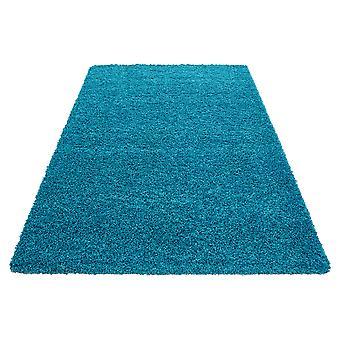 Høj bunke tæppe stue Langflor Shaggy Monochrome Uni Billige Blå Turkis Pris hammer 5 cm bunke højde