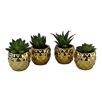 Set of 4 Miniature Succulents In Gold Geometric Pots