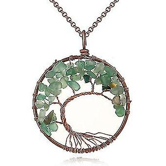 Tree Of Life Pendant Amethyst Rose Crystal Necklace Gemstone Chakra Jewelry(Green)