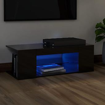 vidaXL TV-kaappi LED-valoilla kiiltävä musta 90x39x30 cm