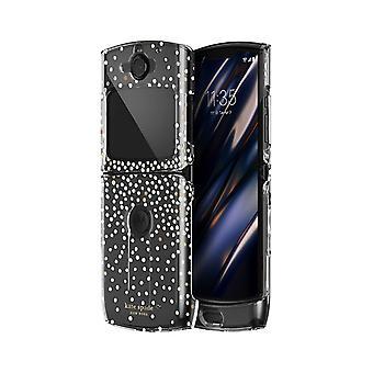 Custodia Hardshell Kate Spade per Motorola razr 5G - Disco Dots Nero/Oro/Chiaro