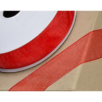 25m Röd 6mm Bred Vävd Edge Organza Band för hantverk