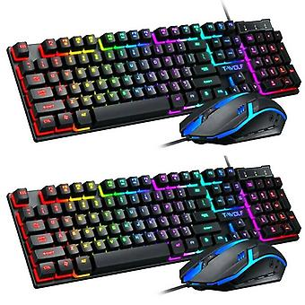 Gaming Keyboard and Mouse Combo Rainbow LED Backlit Wired USB for PC Laptop