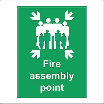 FS131 Fire Assembly Point Sign with Arrow People