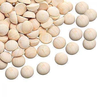 Demi boules en bois, 30 Pcs 1 pouce demi-rond perles en bois inachevées Boules Décoration de bricolage