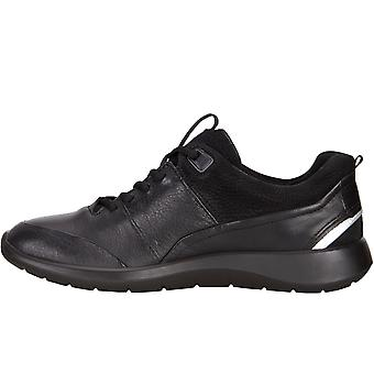 ECCO Womens Soft 5 Leather Lace Up Sporty Casual Trainer Shoe - Black