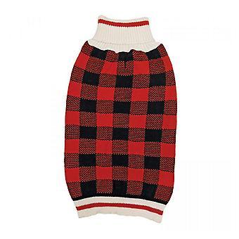 "Fashion Pet Plaid Dog Sweater - Red - Medium (14""-19"" Neck to Tail)"