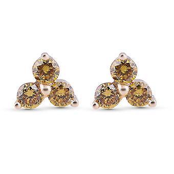 Sárga Diamond I3 Stud fülbevaló ajándék neki 9K sárga arany SGL certified 0.25ct