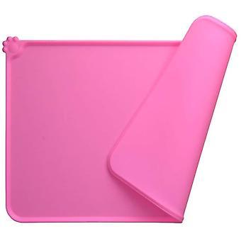 Dog Bowl Mat, Fda Standard Silicone Cat Feeding Mat, Waterproof And Non-slip, Pink, 47 X 30 Cm