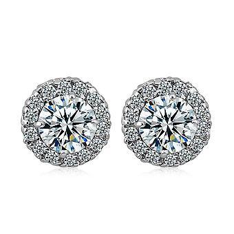 فضة مطلية الماس كريستال قرط للنساء