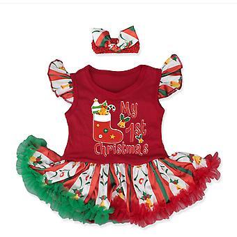 Christmas Costume Romper Dress With Headband Toddler Princess Xmas Fancy Dress
