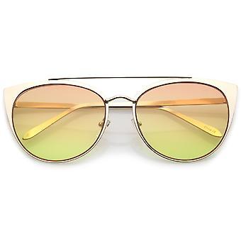 Kvinners Oversize metall Crossbar farget Flat linsen Cat Eye solbriller 61mm