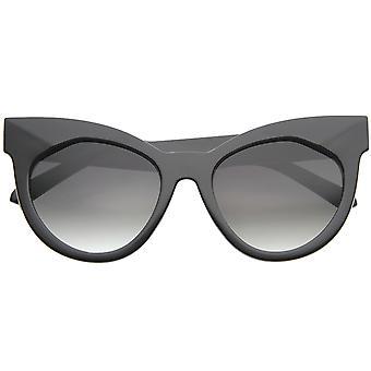 Womens Chic oversize occhiali da sole occhi di gatto grosso grassetto lente piana 64mm