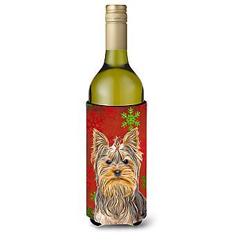Punainen lumihiutaleet Holiday joulua Yorkie / Yorkshirenterrieri Viini pullo Beverag