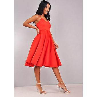 Satijn Strappy V-Neck Midi jurk rood