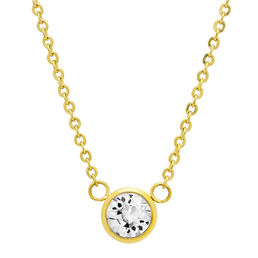 Ladies 18K Gold Plated Solitaire With Swarovski Crystals Necklace