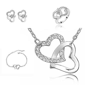 Clear Crystal Stones Hearts Intertwined Jewellery Set With Matching Necklace, Earrings, Bracelet & Ring