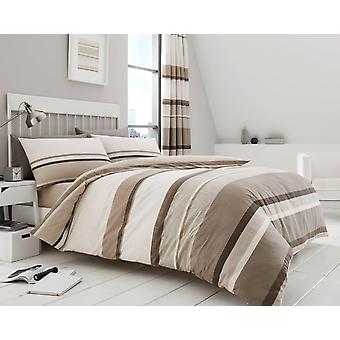 Hudson Stripe Duvet Quilt Cover Polycotton Stripes Printed Bedding Set