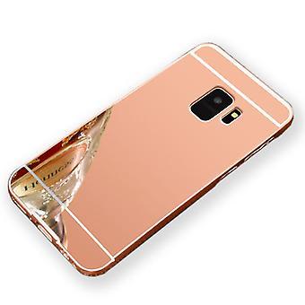 Spegel / spegel aluminium stötfångare 2 stycken med lock rosa för Samsung Galaxy S9 G960F väska täcker