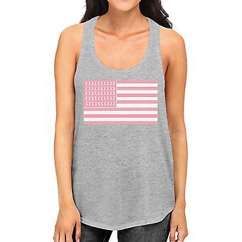 Pink Flag Breast Cancer Shirt Womens Cute Pink Ribbon Tank Top Gift