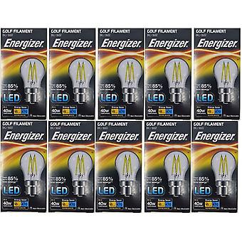 10 x Energizer à incandescence LED Golf BC ampoule B22 4W = 40W 470Lumen baïonnette blanc chaud Cap [classe énergétique A +]