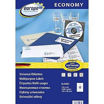 Europe 100 ELA021 Labels 105 x 48 mm Paper White 1200 pc(s) Permanent All-purpose labels Inkjet, Laser, Copier 100 Sheet A4