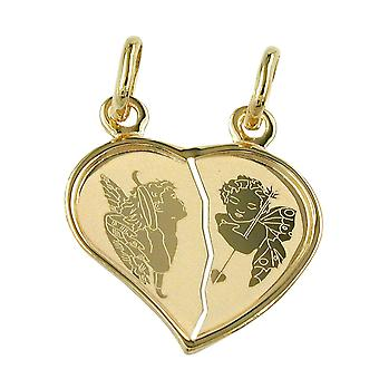 Partners supporters divided heart gold 585 trailer double heart Angel 14 KT