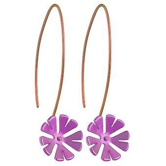 Orecchini pendenti TI2 titanio 13mm dieci petali di fiori - rosa chiaro