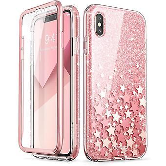iPhone Xs Case, (Built-in Screen Protector] [Cosmo] Full-Body Glitter Bumper Case 2018 Release (Pink)