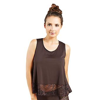 Guy de France 59188-3-170 Women's Brown Solid Colour Lace Pajama Pyjama Top