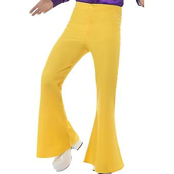 Flared Trousers, Mens, Yellow