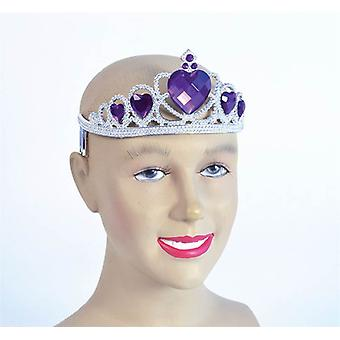 Tiara. Silver Plastic + Purple Stone .