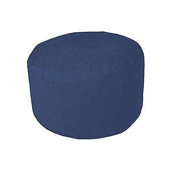 Pouf Ottoman stool around Microvelour blue 34 x 50 x 50 cm