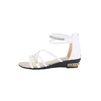 LMS White Multi Strap Flat Sandal With Diamante Detail