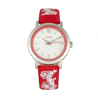 Bertha Penelope MOP cuir-Band Watch-rouge