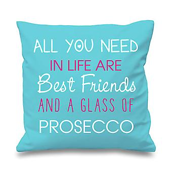 """Aqua Cushion Cover All You Need In Life Are Best Friends And A Glass Of Prosecco 16"""" x 16"""""""